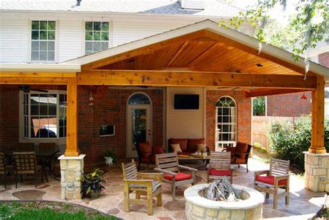 patio cover with stone cedar texas custom patios