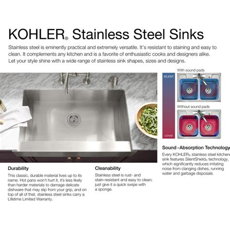 sink placement in kitchen kohler k 5284 na strive stainless steel kitchen sinks 5284