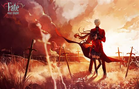 wallpaper  sky girl clouds sunset weapons anime