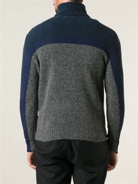 moncler sweater moncler grenoble colour block turtle neck sweater in blue