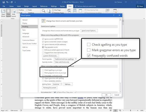 turn grammar check and spell check on and in word 2007