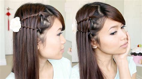 double waterfall twist hairstyle  medium long hair