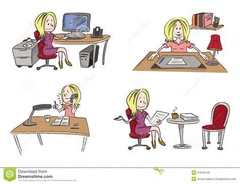 jeux de au bureau bureau travaillant de femme illustration de vecteur image 21644146