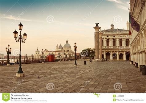 San Marco Square In Venice Italy Early In The Stock Photo