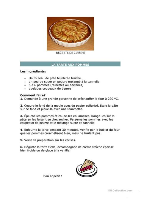 fr recette de cuisine recette de cuisine fiche d 39 exercices fiches pédagogiques