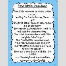 Five Little Reindeer Poem Freebie  Kids Songs  Pinterest  Christmas, Preschool Christmas And
