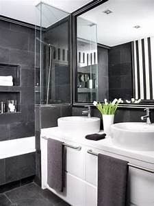 Black and grey bathrooms 2017 grasscloth wallpaper for Black white and gray bathrooms