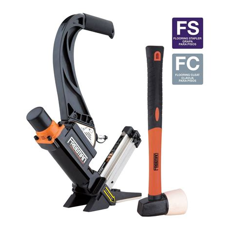 lowes freeman flooring nailer freeman 2 in 1 16 gauge lightweight flooring nailer with plastic handle p50lslw the home depot