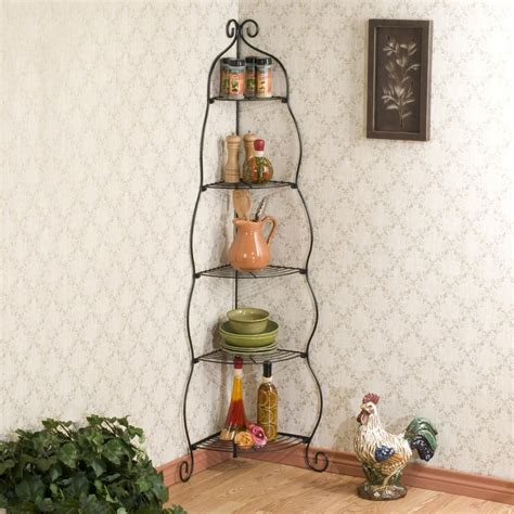 etagere cuisine metal amazon com scrolled black corner etagere corner shelves