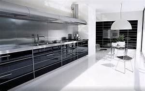 Luxury Modern Industrial Gloss Black White Kitchen Design ...