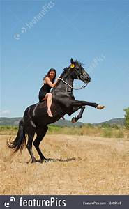 Outdoor Activity  Girl And Rearing Horse