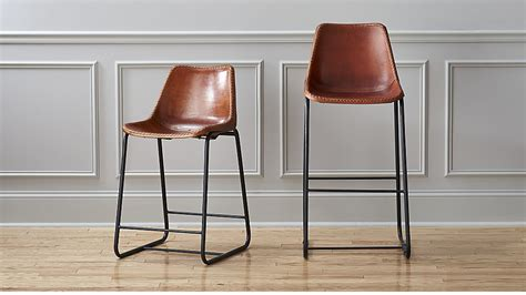 roadhouse leather bar stools cb2