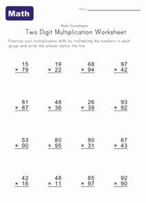 Multiplication Problems 5th Grade Math Worksheet