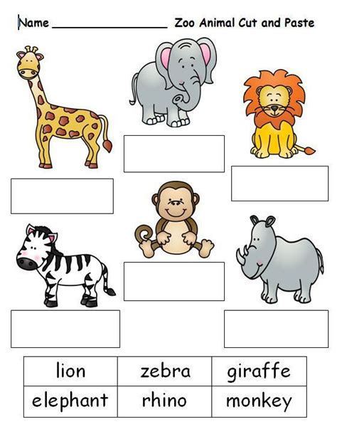 worksheets   animal    images zoo