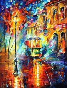 Trolley PALETTE KNIFE Oil Painting On Canvas By Leonid