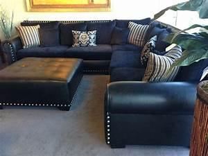 Navy sectional sofa navy microfiber plush casual small for Navy blue microfiber sectional sofa