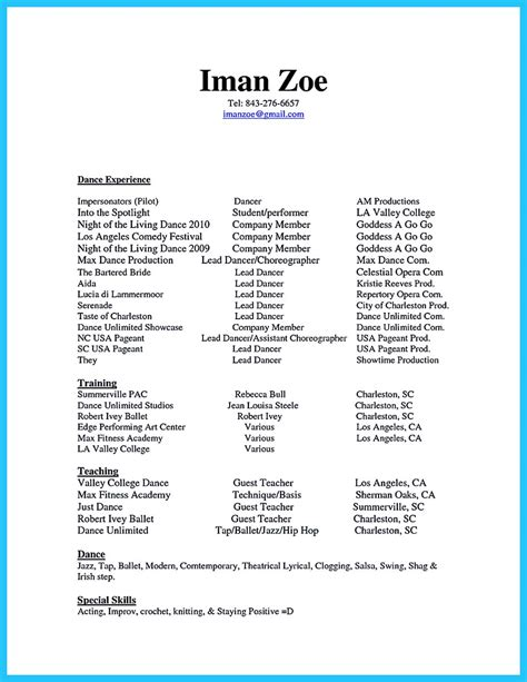 Dancer Resume by The Best And Impressive Resume Exles Collections