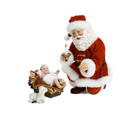 10 quot fabriche santa kneeling with nativity qvc com