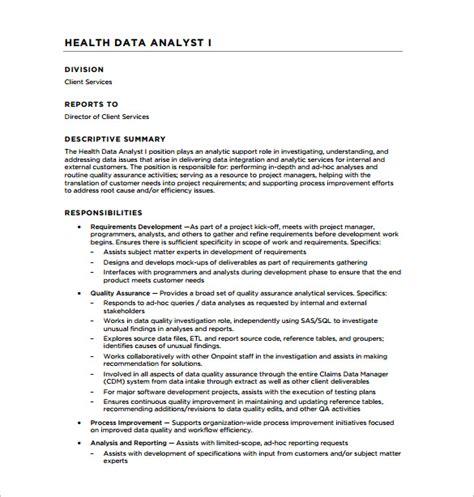 data analyst description template 10 free word pdf