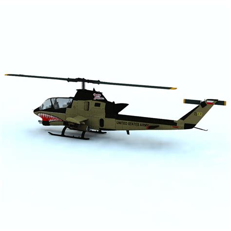 Ah-1 Cobra Helicopter Vue 3d Model Rigged .vue
