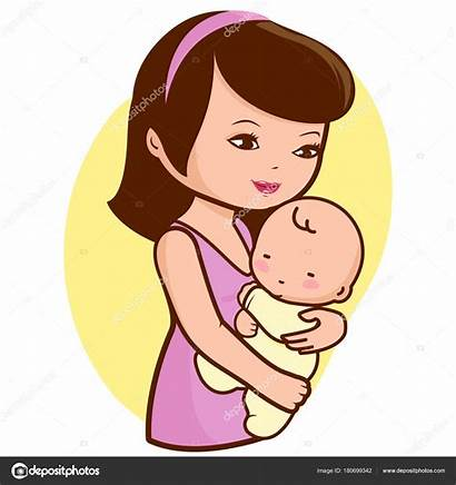 Holding Mother Sleeping Newborn Happy Madre Della