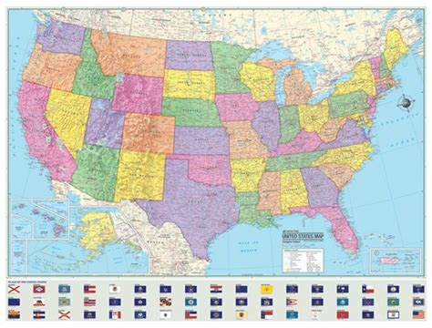 political united states  usa wall map laminated large