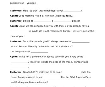Travel Agentcustomer Gapfill Exercise Roleplay