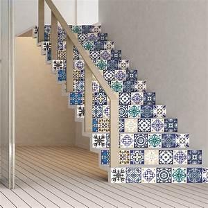 Escalier Carreaux De Ciment : stickers escalier carreaux de ciment gelino x 2 ambiance ~ Dailycaller-alerts.com Idées de Décoration