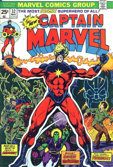 Captain Marvel v2 #32 - Jim Starlin art & cover - Pencil Ink