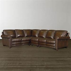 Hamilton l shaped leather sectional bassett furniture for Leather sectional sofa dimensions