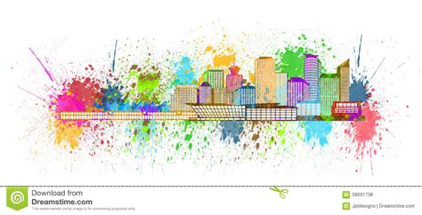 color your world paint vancouver bc vancouver bc skyline paint splatter illustration stock illustration 58091738