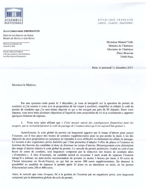 modele de lettre pour repasser un examen courrier au ministre de l int 233 rieur sur le permis de