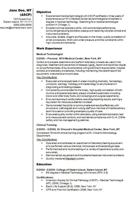 clinical laboratory technician resume sles technologist cv r 233 sum 233 exle how to write a cv