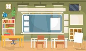 Vector flat illustration of an empty classroom in a school ...