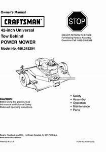 Craftsman 486243294 User Manual Tow Behind Power Mower