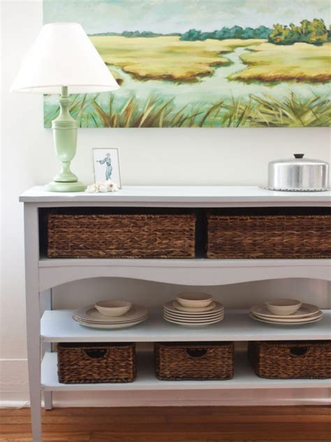 How To Make A Sideboard by Create A Buffet With Basket Storage Hgtv
