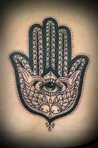 This Hamsa hand tattoo includes fish as symbols of ...