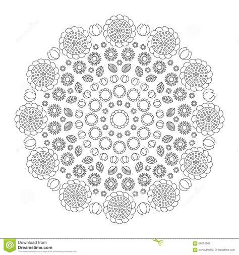 circular pattern mandala funny spring flowers black