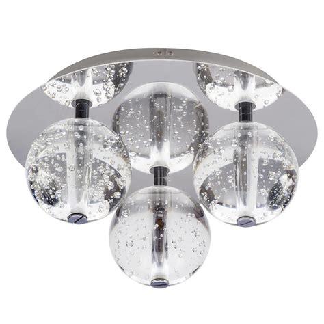 droplet 3 light led glass flush ceiling light chrome
