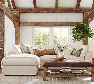 pb air upholstered 4 piece sofa with chaise sectional With pottery barn pb sectional sofa