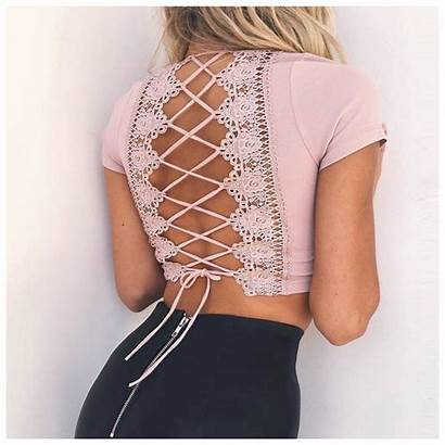 Lace Neck Tops Short Cropped Casual Backless