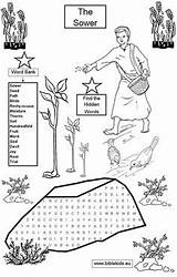 Parable Sower Bible Parables Coloring Pages Word Activities Sunday Crafts Puzzles Lessons Seed Jesus Church Puzzle Seeds Activity Children Printable sketch template