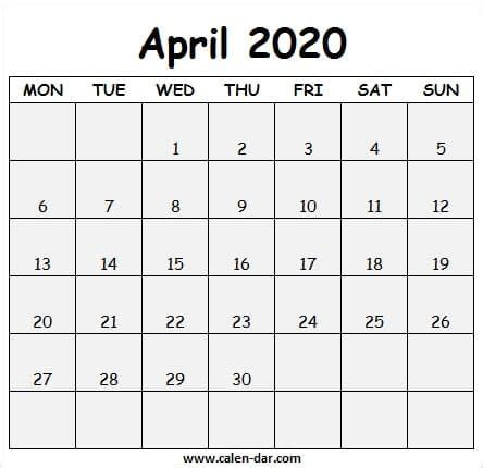 printable april  calendar  april calendar images
