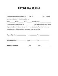 Sle Of A Bill Of Sale For An Automobile by Free Bicycle Bill Of Sale Form Pdf Word Eforms