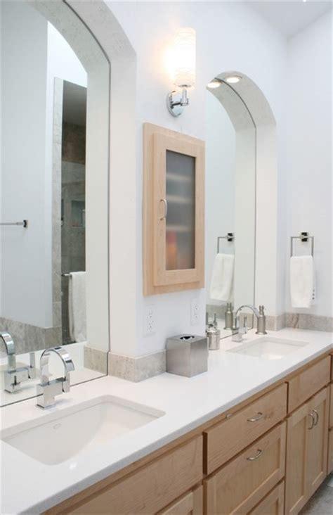 Modern Bathroom With Undermount Sinks & Quartz Counters