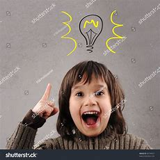 Excellent Idea Kid Illustrated Bulb Above Stock Photo