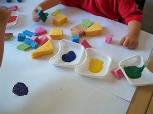 Activites Enfant 2 Ans : peinture l 39 ponge les r cr ations de c cyle ~ Melissatoandfro.com Idées de Décoration
