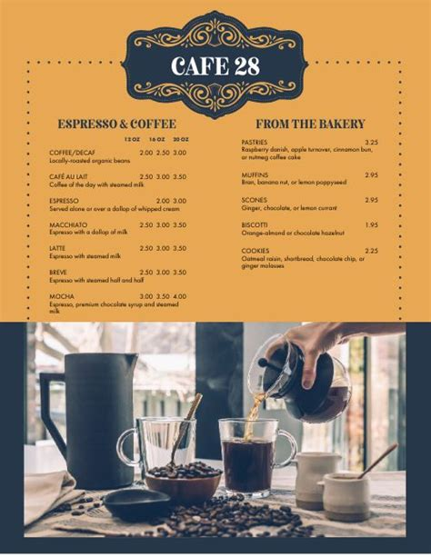View the menu, check prices, find on the besides amherst tennis camp at amherst college, visit share amherst in the vicinity. Elegant Coffee Menu   Design Templates by MustHaveMenus