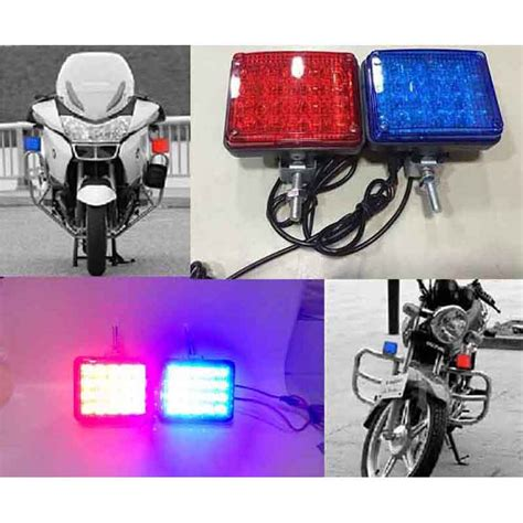 police motorcycle safety lights leds 2x 20 led red blue flashing car motorcycle patrol day