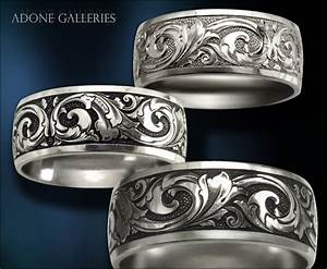 Adone galleries platinum wedding band hand engraved victorian for Engraving on mens wedding rings